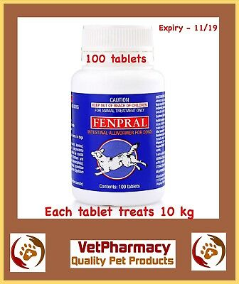 Dog Worming Tablets X 100. Small Dog & Puppies. Fenpral. Tablet Treats 10 Kg