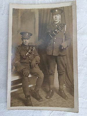 RP postcard, two men in military uniform, Malay/Singapore/Nepal? c.1940s