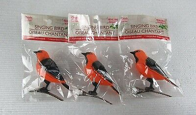 Lot 3 Motion Activated orange Jay Singing Bird Motion Sensor NEW IN PACKAGE