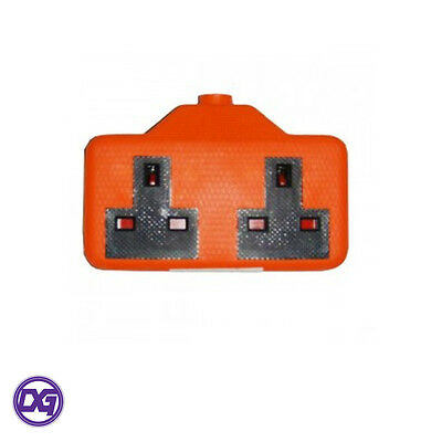 Rubber Two Gang High Visibility Loose 13A Mains Power Socket BS1363A DIY