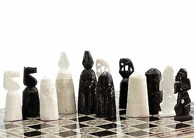 "16"" Camel bones Handmade Egyptian Mother of Pearl Inlaid Chess Set"