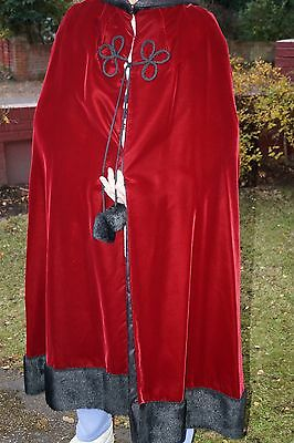 Red Velvet With Black Faux Fur Trim Lined Hooded Cape ~ Hand-Made ~ Vintage