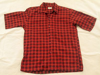 Vtg 1950's-1960's McGREGOR Plaid Button Loop Collar Short Sleeve Cotton Shirt M