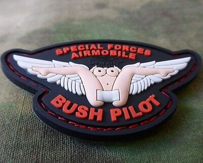 3D Rubberpatch Special Forces Airmobile Bush Pilot Wing Patch m. Klettrücks.