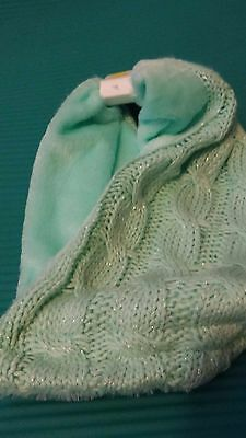 NEW! Toddler Girls Fur Green Teal Knit Wrap Scarf Winter Snow Sparkle Shimmer