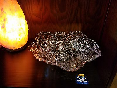 "Pressed Patterned Clear Glass 9.5"" X 3""  Bowl Star Pattern w/slight foot"