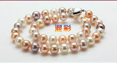 """9-10mm south sea white gold pink purple round pearl necklace 18"""" 925 silver"""