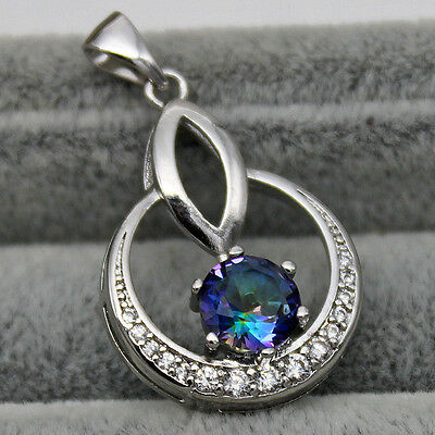 18K White Gold Filled - 7MM Blue MYSTICAL Topaz Circle Hollow Wedding Pendant