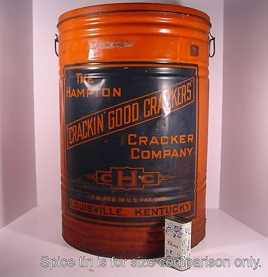 LARGE Country Store Bin! HAMPTON CRACKIN' GOOD CRACKERS ~Louisville, Ky~ Tin Can