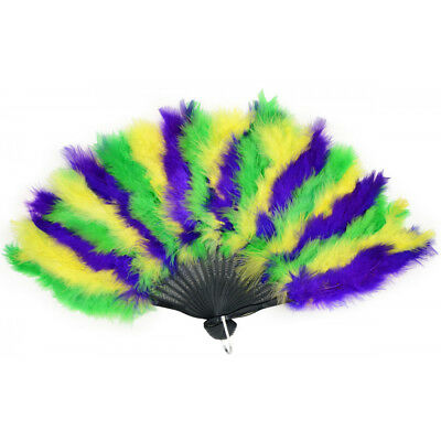 Mardi Gras Marabou Feather Fan Geisha Womens Costume Accessory Prop Oriental