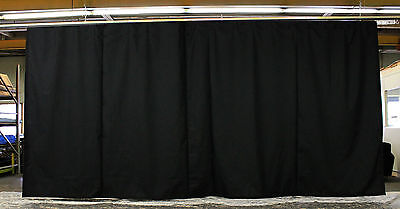 Black Stage Curtain/Backdrop 9 H x 20 W (Non-FR) with 20 feet of Curtain Track