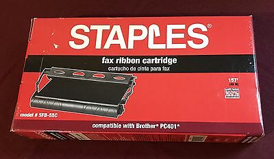 STAPLES FAX RIBBON CARTRIDGE SFB-55C for Brother PC401 New Open Box RibbonSealed