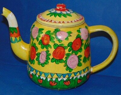 Metal Hand Painted Teapot In Good Condition