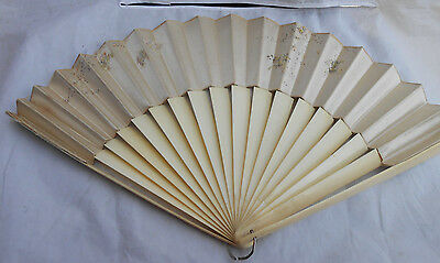 Antique Victorian Japanese Hand Folding Fan Silk Wedding 1800's Rare