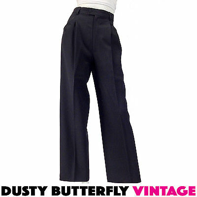 VINTAGE 80s DESIGNER PANTS - Sz XS/S - Yves Saint Laurent YSL Black WOOL Trouser