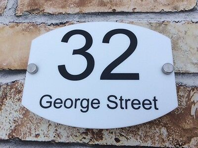 WHITE MODERN HOUSE SIGN PLAQUE DOOR NUMBER - ACRYLIC. 175mm x 135mm Personalised