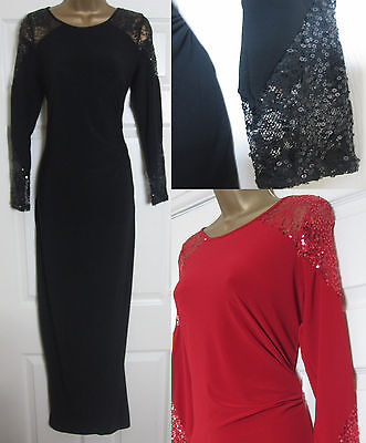 NEW EX Wallis Sequin Lace Maxi Dress Evening Party Wedding Black Red Size 10-20