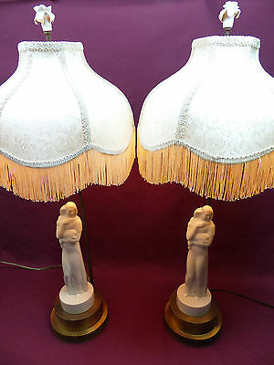 Rare Pair of Vintage Lenox Art Deco Figural Lady Lamps ca.1930's