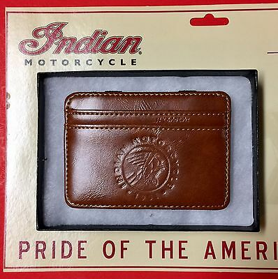 Indian Motorcycle Brown Leather Credit Card Wallet ~ Since 1901 Logo  Ships Free
