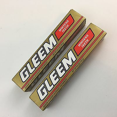 Lot 2 GLEEM Toothpaste Whitens Teeth Tubes Sealed Boxes Collectible JA11