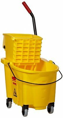 NEW Rubbermaid RCP 748018YW Wavebrake 26-Quart Side Press Mop Bucket /& Wringer