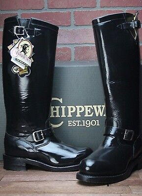 Chippewa Boots: Men's Steel Toe 71418 USA-Made Black Leather Motorcycle Boots