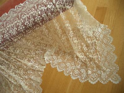 SUPERB AIRY Antique VTG SILK FRENCH NET LACE STOLE SHAWL WRAP PANEL*BLONDE COLOR