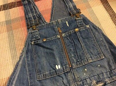 Headlight Selvedge Denim Bib Overalls 1960s Work Wear Vintage Carhartt Patched!!