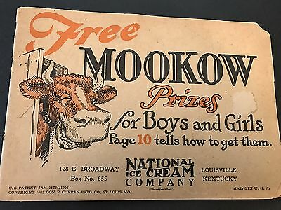 Orig 1920s NATIONAL ICE CREAM Co Louisville Kentucky MOOKOW Childs Adv Booklet