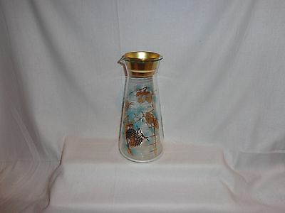 Vintage Glass Libbey Turquois & Gold Pine Cone Juice Pitcher with Lid