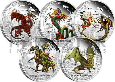 Australian Dragons Of Legend - Complete 5-Coin Series - All Ogp And Coa - New