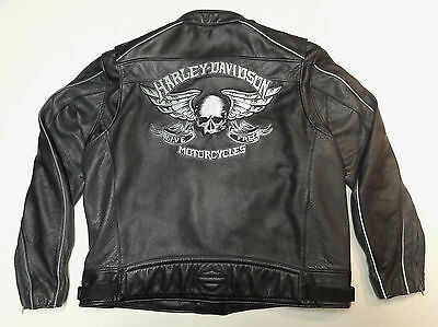Harley Davidson Reflective Skull Keystone Leather Jacket Xxl 2Xl Sweet Coat  235