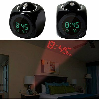 Projection Alarm Clock Digital LCD Voice Talking Wall Ceiling Snooze Temperature