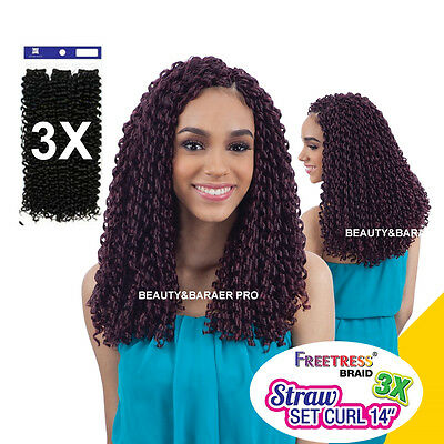 "FREETRESS Synthetic Crochet Braid - 3X STRAW SET CURL 14"", 3 in 1 value pack"