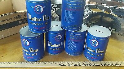 Lot of 6 Mother Penn motor oil can Banks.