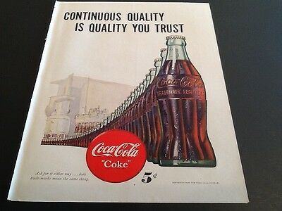 1947 COCA COLA Coke Soda Vintage magazine print ad Continuous Quality you trust