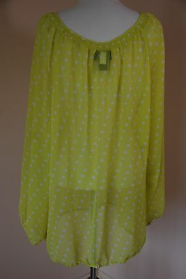 595af3c63f875 Lane Bryant long sleeve sheer blouse. Size 26 28 Yellow Green with White