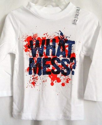 Boys 2T White Funny What A Mess? Splattered L/s Shirt Nwt ~ The Children's Place