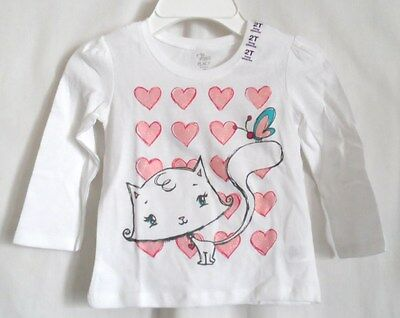 Girls 2T White Kitty Sparkly Pink Heart Butterfly Shirt Nwt The Children's Place