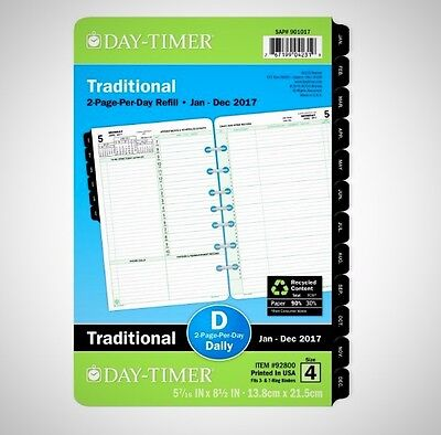 Day Timer Daily Planner Refill July 2017 -June 2018 One Page Per Day 5 Office