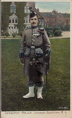 Soldier Colour Sergeant Major London Scottish wears medals CSM T Smith ? Piper?