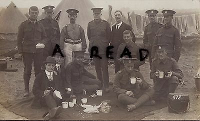 Soldier Group 8th Battalion London Regiment Post Office Rifles at camp