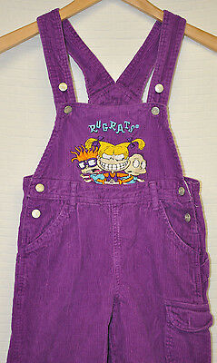 Vtg RUGRATS Nickelodeon PURPLE Corduroy OVERALLS Kids YOUTH Sz S Embroidered 90s