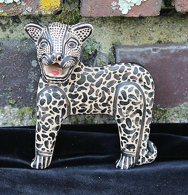 # 3 Jaguar Wall Sculpture Amatenango Hand made & Painted Chiapas Mexico Folk Art