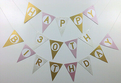 baby pink gold white flag bunting banner personalised party shower wedding
