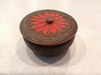 Vintage turned wood trinket box, intricately carved, UNIQUE RARE