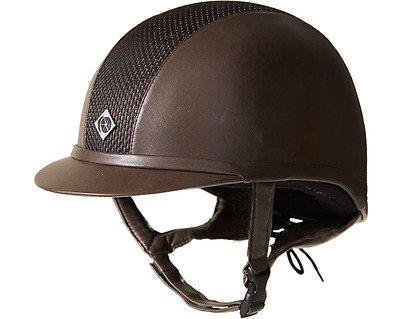 Charles Owen AYR8 Leather Look Riding Hat - All Brown
