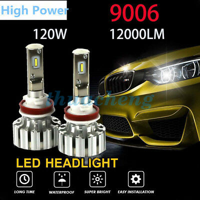 9006 120W 12000LM LED Headlight Kit Conversion Bulbs 6000K Canbus Power