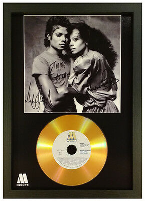 Michael Jackson And Diana Ross Signed Gold Disc Display