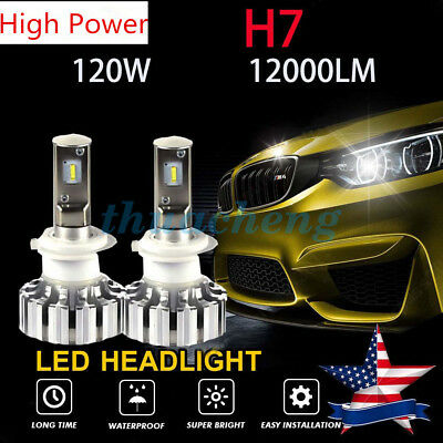 H7 120W 12000LM LED Headlight Kit Conversion Bulbs 6000K Canbus Hi Power